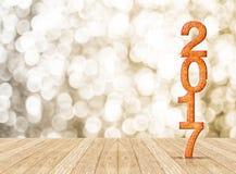 schittert het nieuwe jaar van 2017 aantal in perspectiefruimte met het fonkelen Stock Foto