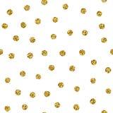 Schittert het stip naadloze patroon met goud vlek Vector chaotische gouden textuur met glint punten die op wit worden geïsoleerd vector illustratie