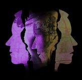 Schizofreni fördjupning, mänsklig tragedi, manliga huvud arkivfoto