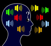 Schizofrenia con le voci di udienza illustrazione vettoriale