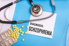 Schizofreniord som är skriftligt på läkarundersökningblåttmapp arkivbilder