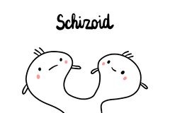 Schizoid psychopathy hand drawn illustration with cute marshmallow