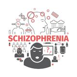Schizophrenia banner. Symptoms, Treatment. Icons set. Vector signs for web graphics. royalty free illustration