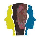Schizophrenia depression male head silhouettes. Stock Image