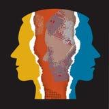 Schizophrenia depression ripped paper male heads. Ripped paper Male head silhouettes facial fragments. Concept symbolizing uncovering of schizophrenia vector illustration