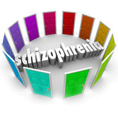 Schizophrenia Many Doors Multiple Personality Disorder. The word schizophrenia surrounded by many colorful doors to illustrate multiple personality disorder Stock Photos