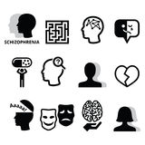Schizophrenia, mental health, psychology  icons set Royalty Free Stock Image