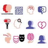 Schizophrenia, mental health, psychology  icons set Stock Photos