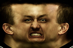 Schizophrenia. Panorama face stock photo