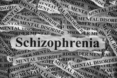 Schizophrenia. Torn pieces of paper with the word  and mental disorder. Concept Image. Black and White. Closeup Stock Photos