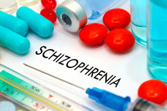 Schizophrenia. Treatment and prevention of disease. Syringe and vaccine. Medical concept. Selective focus stock images