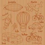 Schizza i mezzi di trasporto, illustrazione di vettore illustrazione di stock