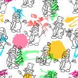 Schizzando la neve sveglia di stile disegnato a mano equipaggia Illustrazione di vettore di natale Pupazzi di neve con i cappelli illustrazione vettoriale