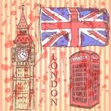 Schizzi Big Ben, la bandiera BRITANNICA e la cabina del telefono, fondo di vettore Immagine Stock
