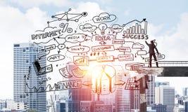 Schizzi concettuali di affari del disegno dell'uomo d'affari Immagine Stock