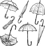 Schizzi degli ombrelli Fotografia Stock Libera da Diritti