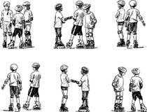 Schizzi dei bambini che pattinano sui rulli Fotografia Stock