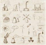 Schizzi delle fonti di energia Immagini Stock