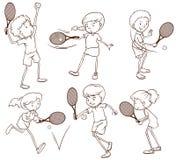 Schizzi di giocar a tennise della gente Fotografia Stock