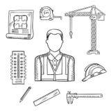 Schizzi di professione dell'ingegnere o del costruttore illustrazione vettoriale