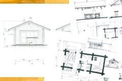 Schizzi domestici e disegni di piano illustrazione di stock