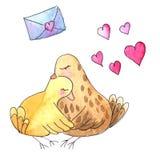 Schizzi gli uccelli marroni in un abbraccio con i cuori e una lettera illustrazione vettoriale
