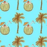 Schizzi il cocktail della noce di cocco e della palma nello stile d'annata illustrazione di stock