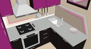 Schizzi il disegno colorato estratto dell'interno d'angolo moderno porpora e marrone della cucina Immagini Stock Libere da Diritti