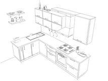 Schizzi il disegno del layout di in bianco e nero interno della cucina d'angolo moderna 3d Immagine Stock
