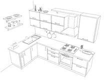 Schizzi il disegno di contorno di in bianco e nero interno della cucina d'angolo contemporanea 3d Immagine Stock Libera da Diritti