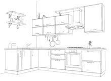 Schizzi il disegno di contorno di in bianco e nero interno della cucina d'angolo moderna 3d Fotografie Stock Libere da Diritti