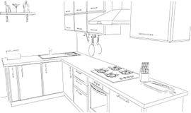 Schizzi il disegno di profilo di in bianco e nero interno della cucina d'angolo contemporanea 3d Fotografie Stock Libere da Diritti