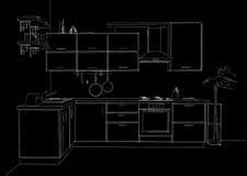 Schizzi il disegno di profilo di in bianco e nero interno della cucina d'angolo contemporanea 3d Immagini Stock Libere da Diritti