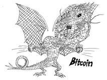 Schizzi il drago con una moneta di valuta cripto nei denti illustrazione vettoriale