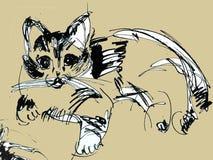 Schizzi il gattino, il disegno del gattino, disegno dell'inchiostro Immagine Stock