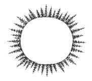 Schizzi il giro del telaio attillato degli alberi nel cerchio che estrae tre strati in rotondo sul pianeta Posto per testo Disegn Fotografia Stock Libera da Diritti