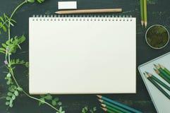Schizzi il libro, il muschio e le matite di colore nei toni verdi Fotografia Stock Libera da Diritti