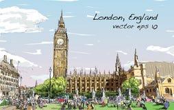 Schizzi il paesaggio urbano di Londra Big Ben e le case del Parlamento Fotografie Stock Libere da Diritti