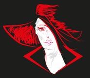 Schizzi il ritratto della donna con il fronte del cappello disegnato Immagine Stock