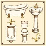 Schizzi l'attrezzatura della toilette e del bagno nello stile d'annata illustrazione vettoriale