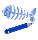 Schizzi l'osso di pesce, scheletro del pesce con la matita Immagini Stock