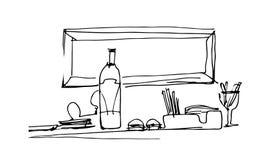 Schizzi la natura morta con una bottiglia sulla tavola Immagini Stock Libere da Diritti