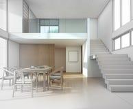 Schizzi la progettazione della riunione e della sala da pranzo in casa moderna Fotografie Stock Libere da Diritti