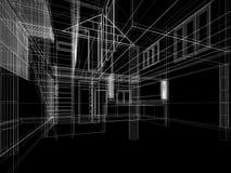 Schizzi la progettazione di spazio interno, 3d rendono Fotografia Stock Libera da Diritti