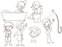 Schizzi semplici della gente che prende un bagno Immagine Stock Libera da Diritti