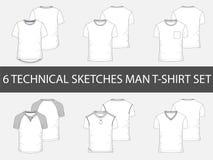 6 schizzi tecnici di modo della maglietta del ` s degli uomini royalty illustrazione gratis