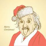 Schizzo Albert Einstein nello stile d'annata Fotografia Stock