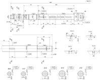 Schizzo ampliato dell'asse Disegno di ingegneria illustrazione di stock