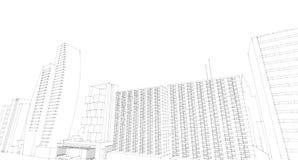 Schizzo architettonico astratto del disegno, città Scape Fotografia Stock Libera da Diritti