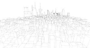 Schizzo architettonico astratto del disegno, città Scape Fotografie Stock Libere da Diritti